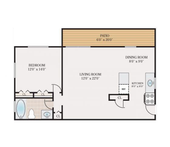 1 Bedroom 1 Bathroom. 750 sq. ft.