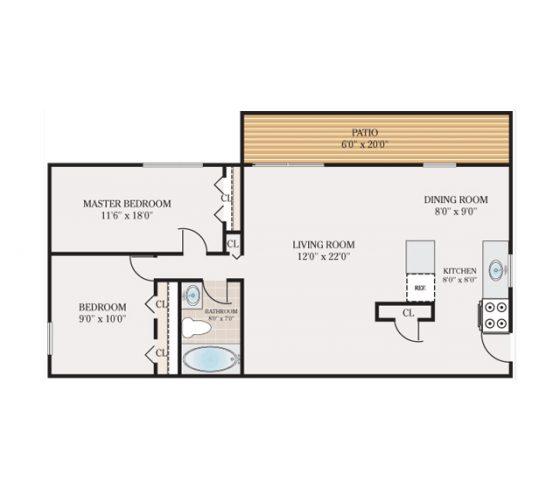 2 Bedroom 1 Bathroom. 860 sq. ft.